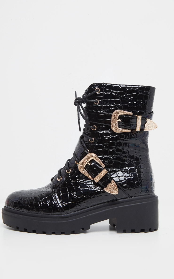 Black Patent Croc Western Buckle Cleated Boot 4