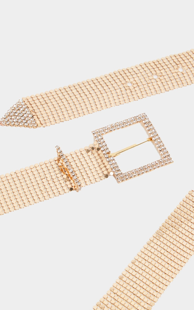Gold Diamante Buckle Chain Mail Belt   2