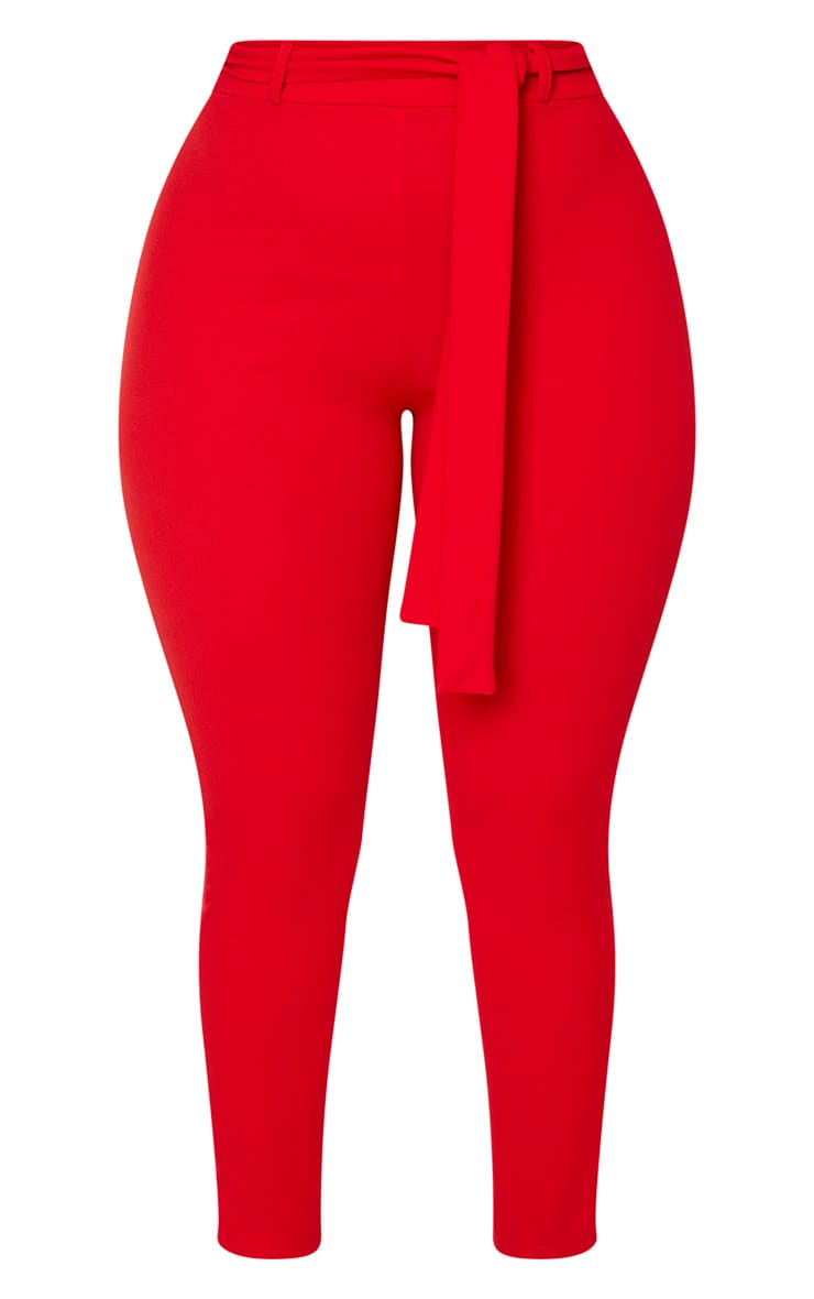 Shape Red Belted Tapered Pants 3