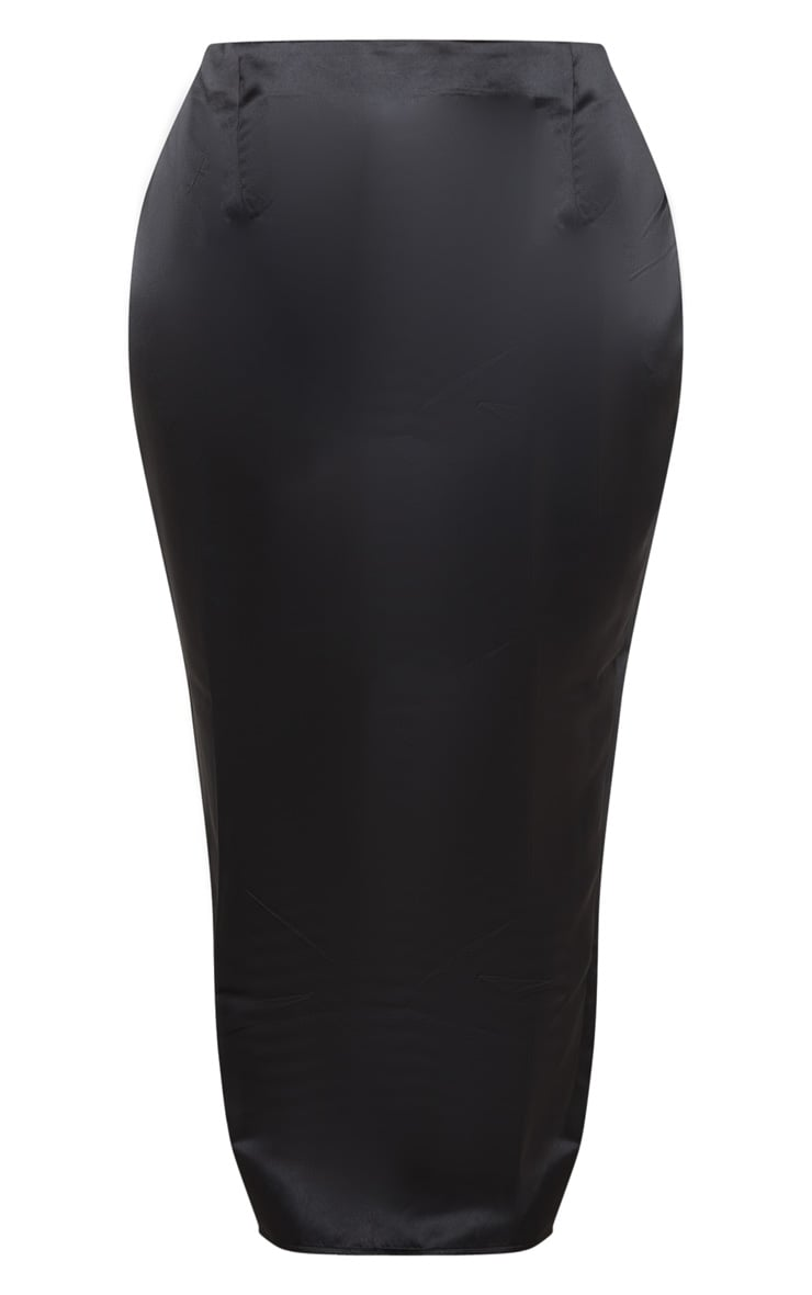 Plus Black Structured Satin Midaxi Skirt 5