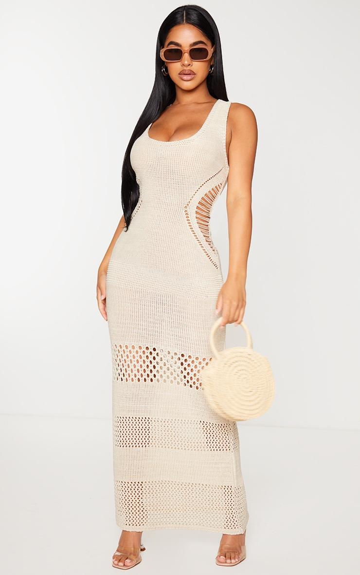 Petite Cream Crochet Plunged Maxi Dress image 1