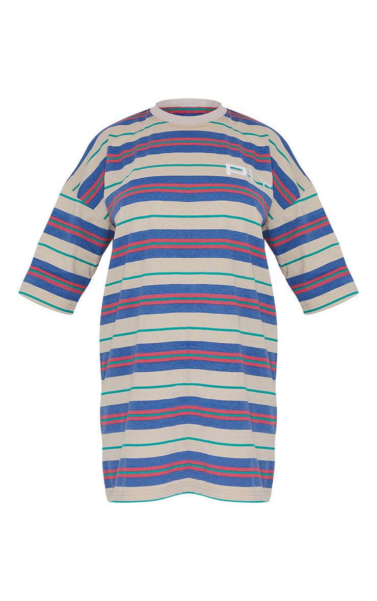 PRETTYLITTLETHING Multi Slogan Stripe Oversized T Shirt Dress 5