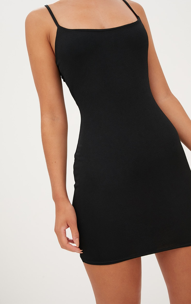Black Square Neck Spaghetti Strap Bodycon Dress