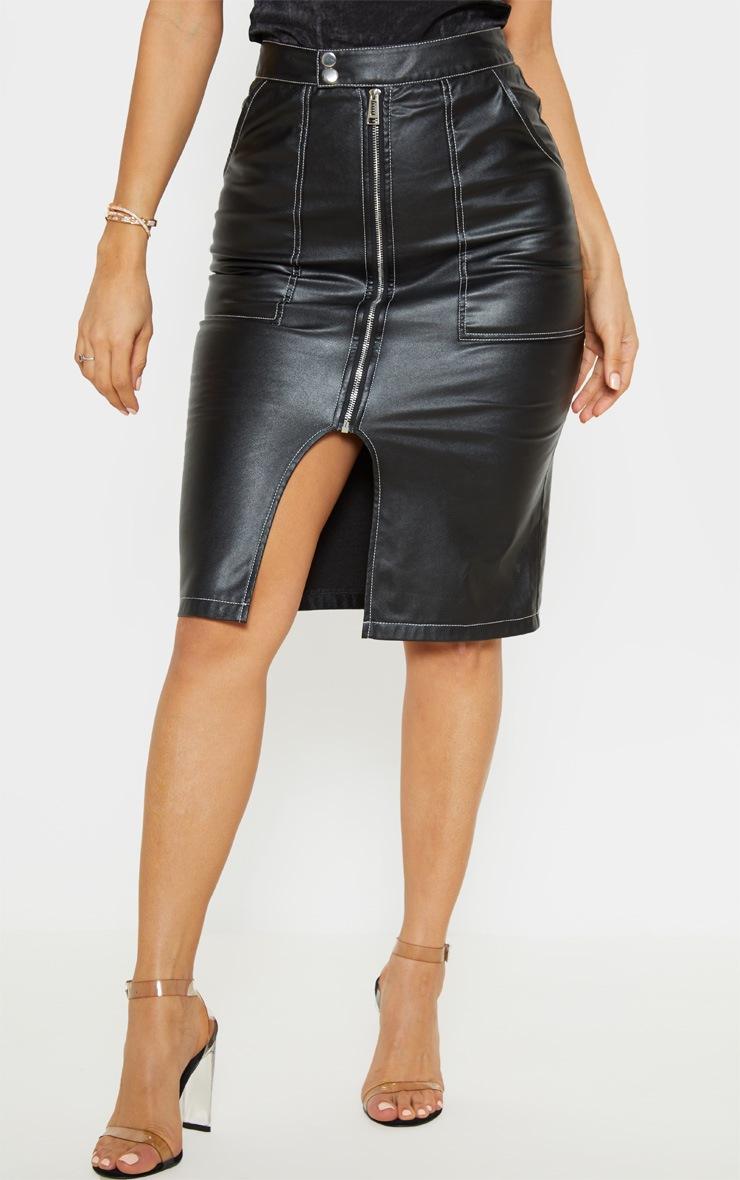 Black Faux Leather Contrast Stitch Midi Skirt 2