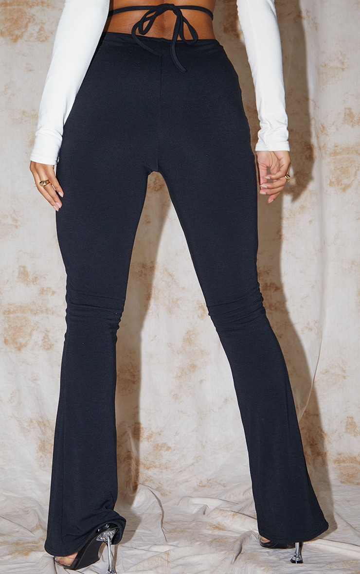 Recycled Black Contour Jersey Tie Waist Flared Pants 3