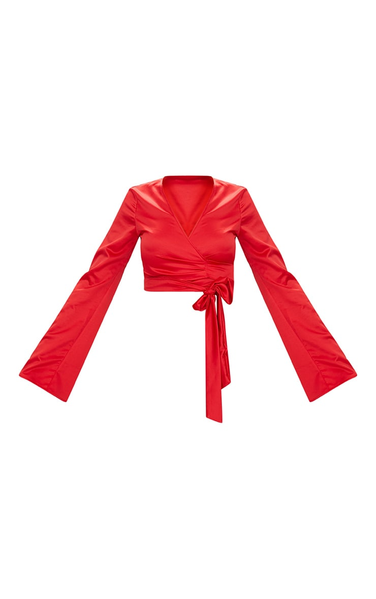 Red Satin Twist Front Wrap Blouse 3