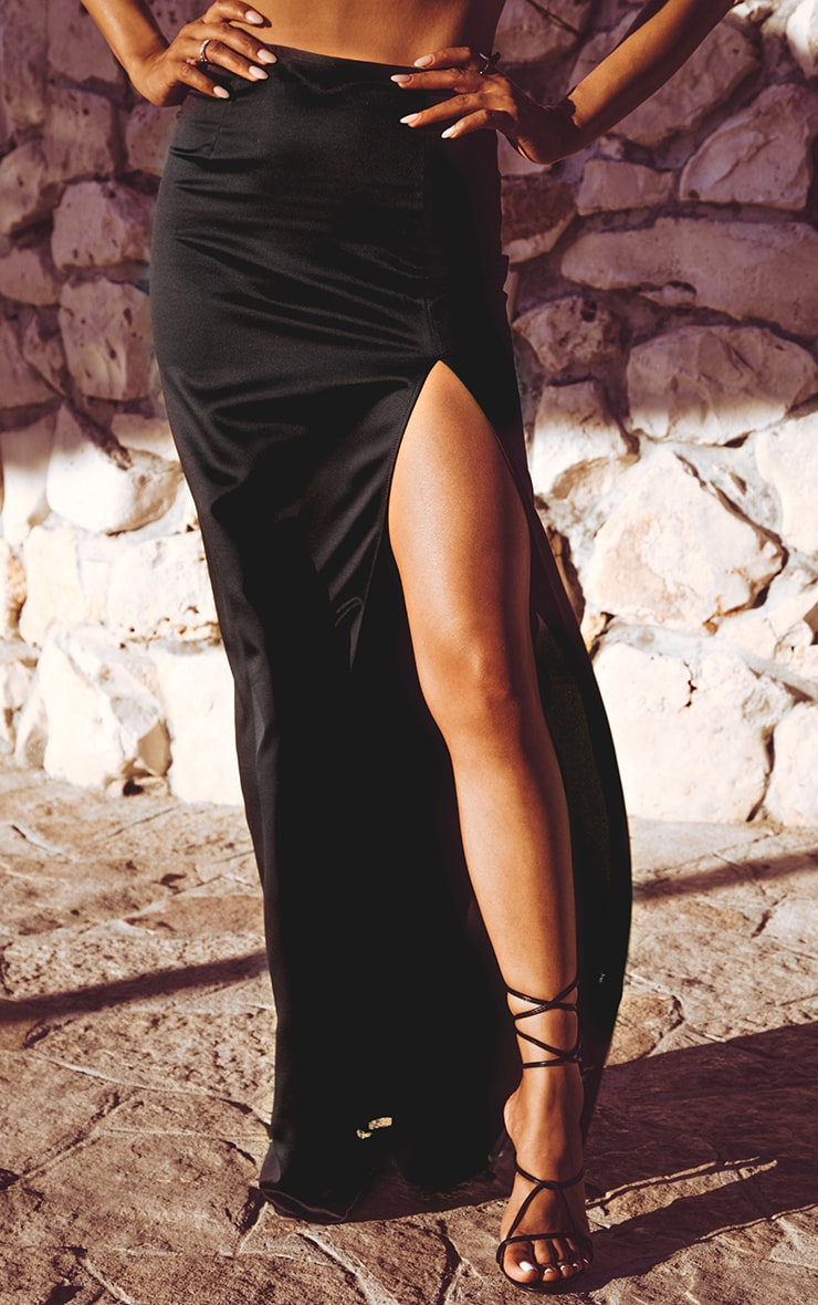 Black Satin Maxi Skirt  2