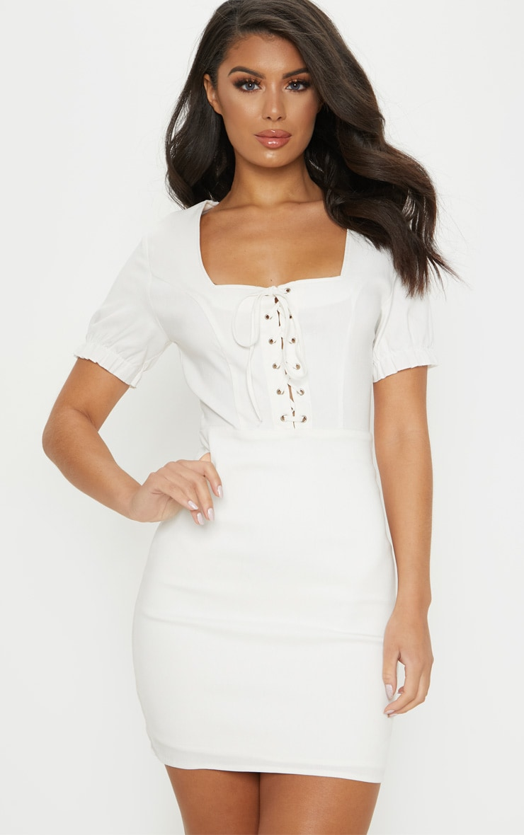 White Lace Up Frill Detail Bodycon Dress 4