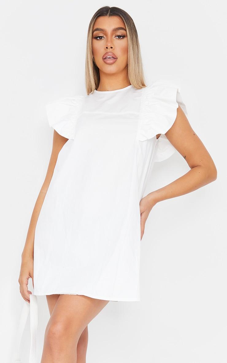 White Frill Sleeve Detail Woven Smock Dress 1