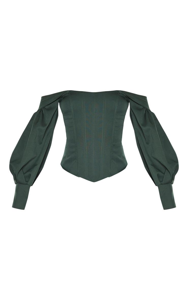 Emerald Bardot Balloon Sleeve Corset Top 3
