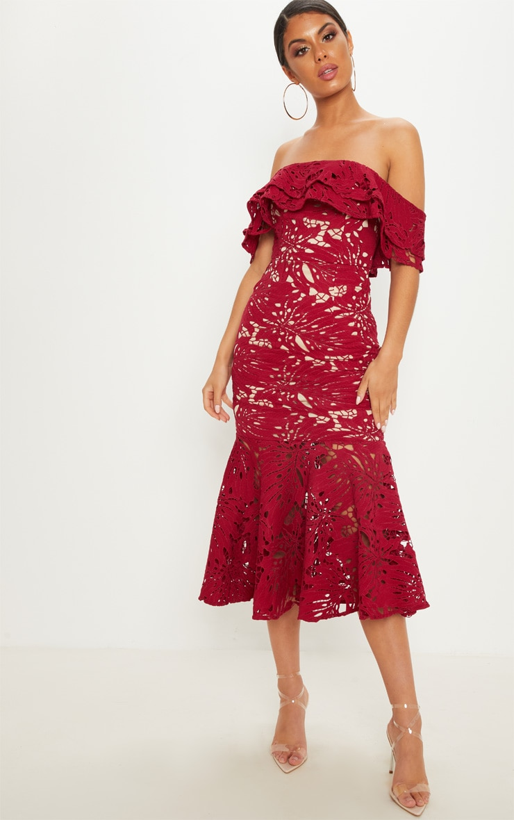 Maroon Crochet Lace Bardot Fishtail Midi Dress 1