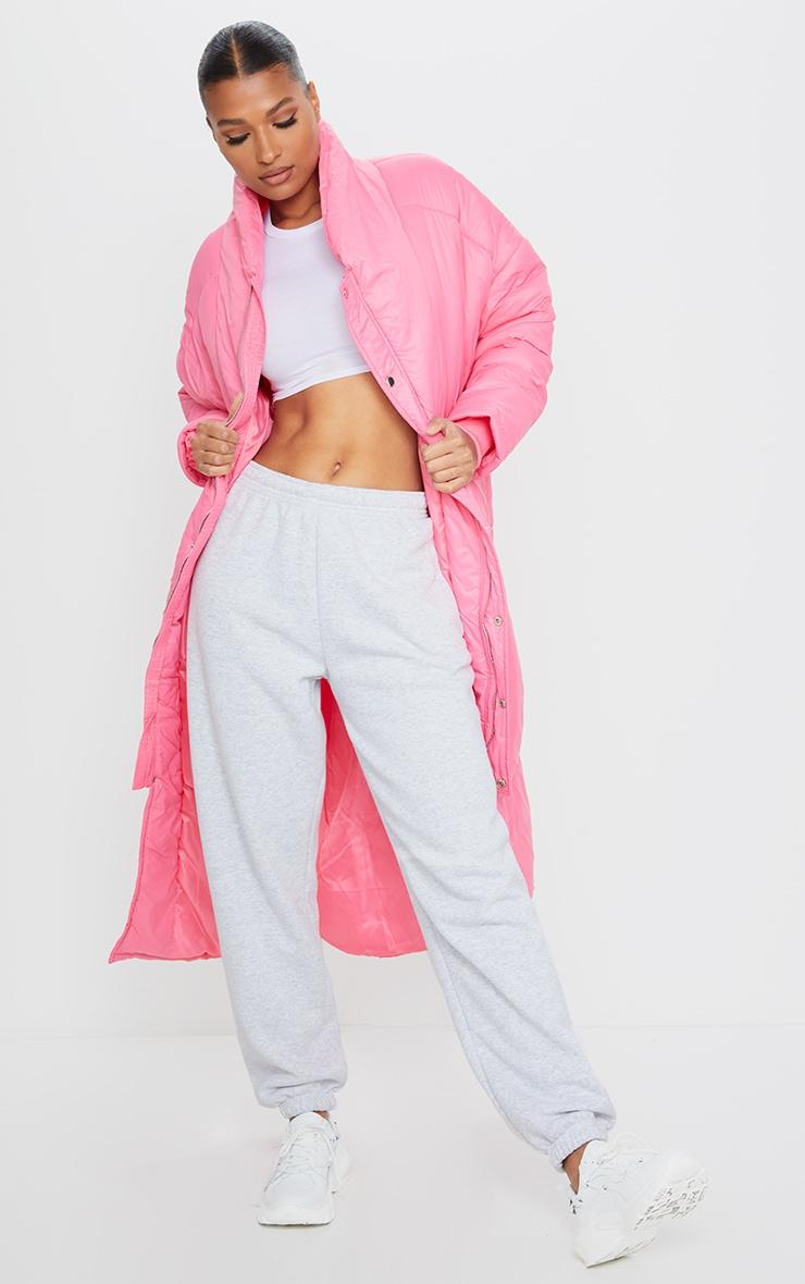 Dark Pink Midi Oversized Puffer Coat 1