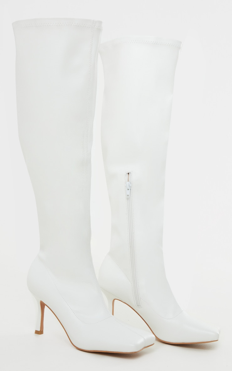 White PU Extreme Square Toe Low Heeled Sock Knee High Boots 3