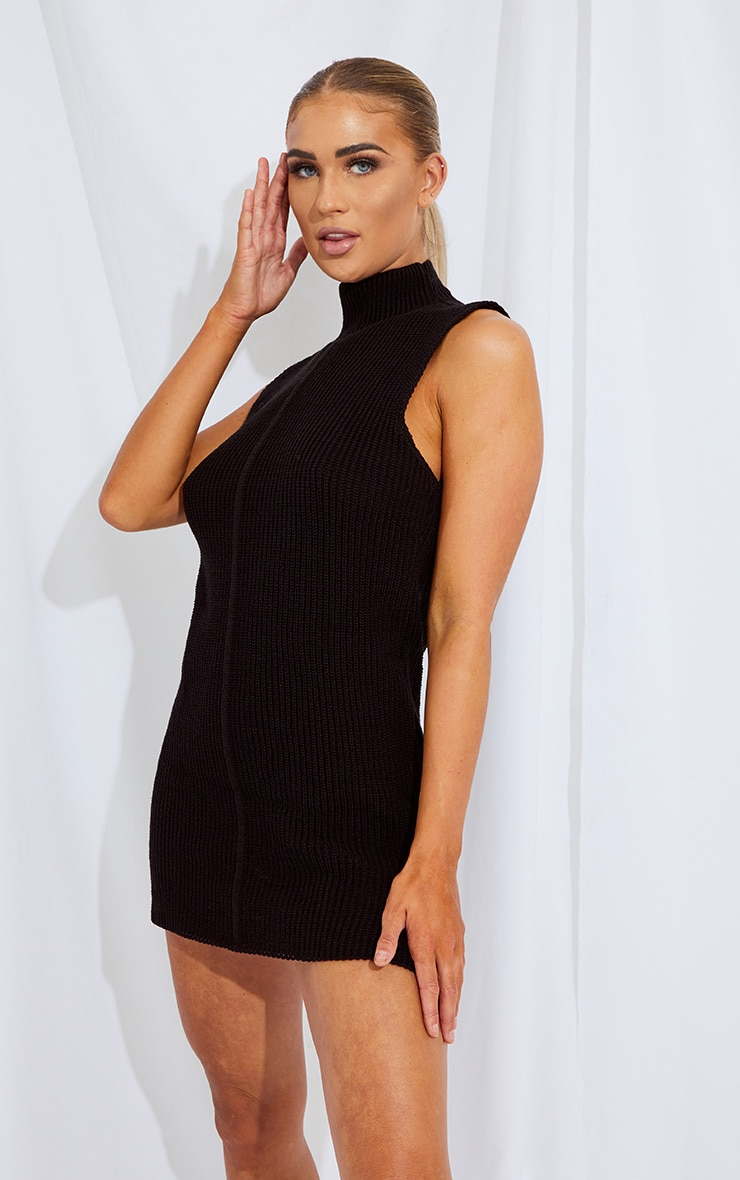 Black Turtle Neck Side Split Sweater Dress 3