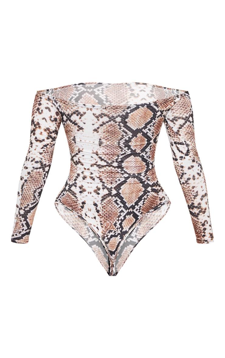 Adhria White Snake Print Bardot Thong Bodysuit 4