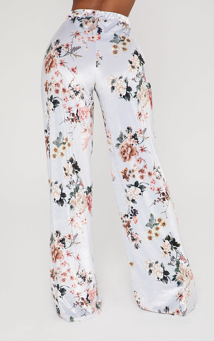 Shape Grey Velvet Floral Wide Leg Trousers 4