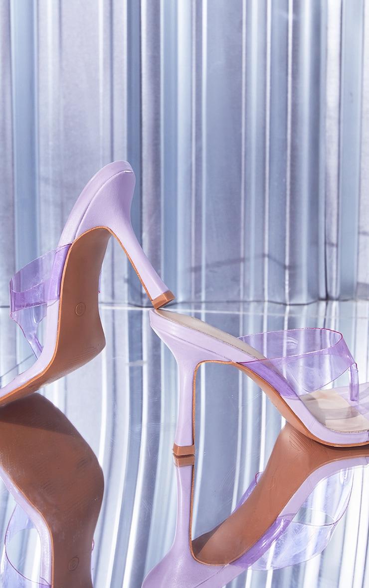Lilac Clear Toe Thong High Heeled Mules 4