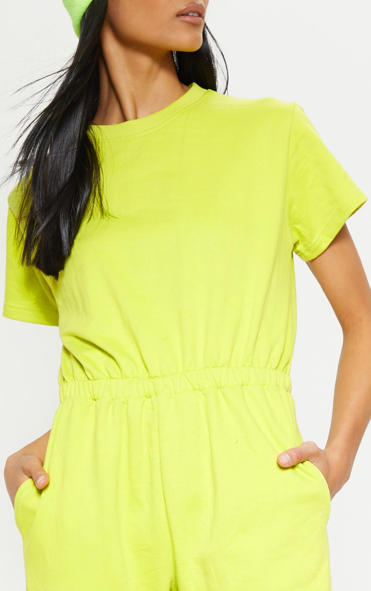 Lime Short Sleeve Crew Neck Sweat Jumpsuit 5
