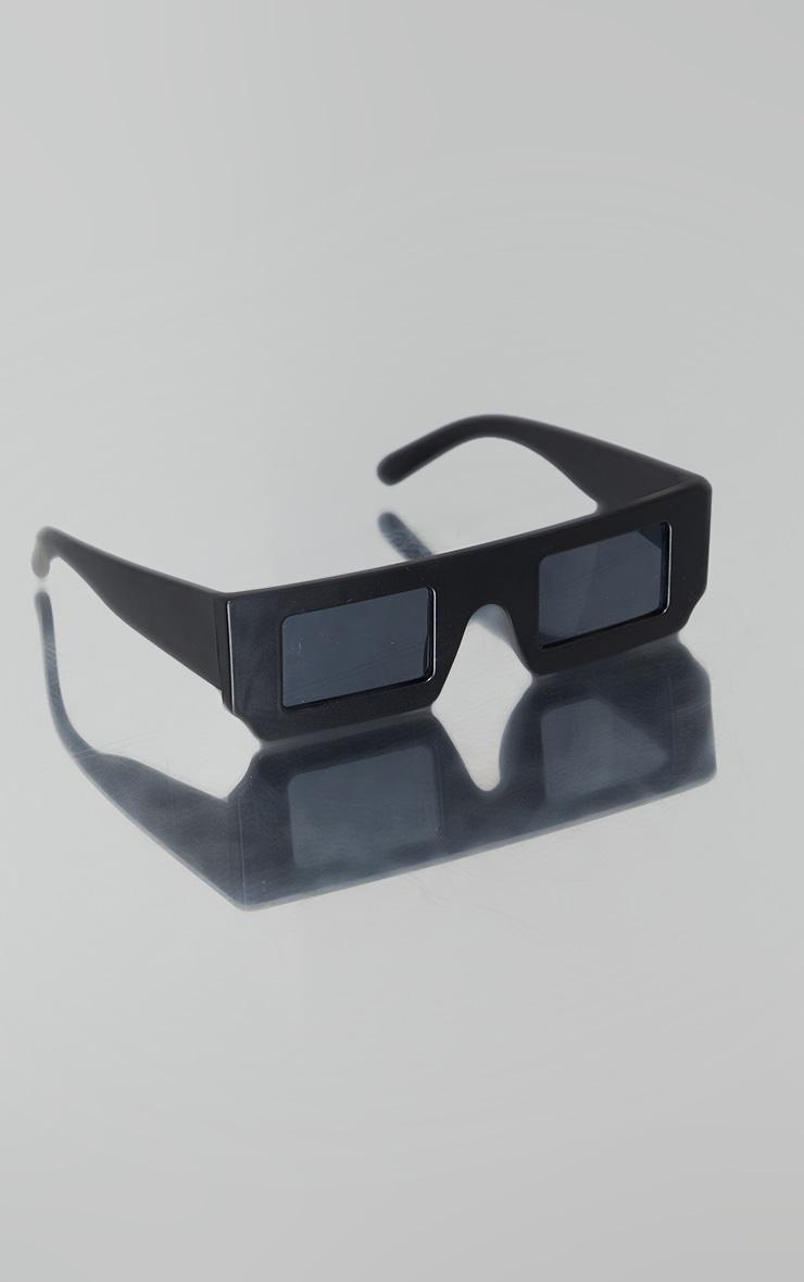 Matte Black on Black Asymmetric Square Sunglasses 3