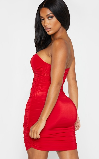 Shape Scarlet Slinky Wrap Detail Ruched Dress