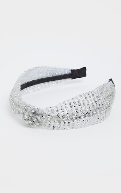 Silver Glitter Knotted Headband