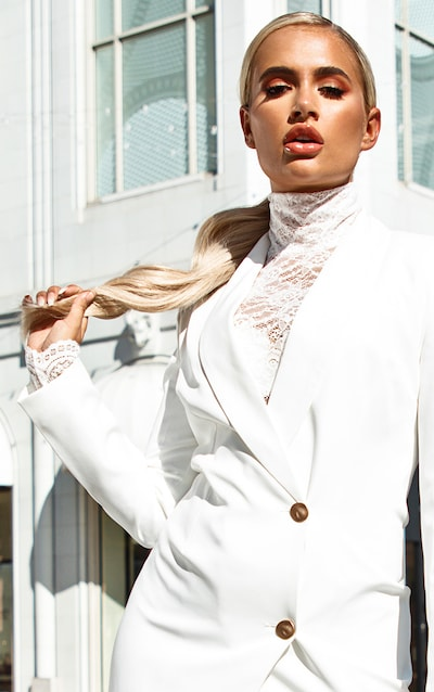 White Sheer Lace Bodysuit