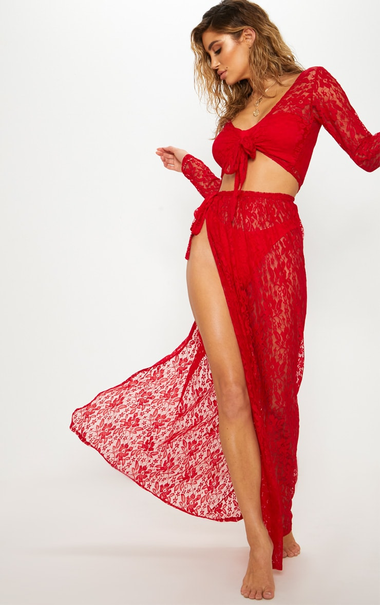 Red Lace Tie Front Beach Top 4