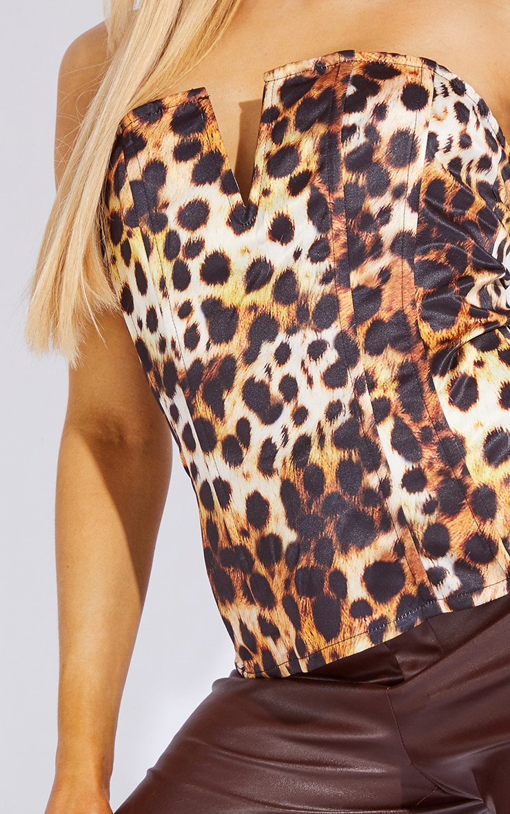Tan Leopard Print Woven V Wire Bandeau Corset Top 4