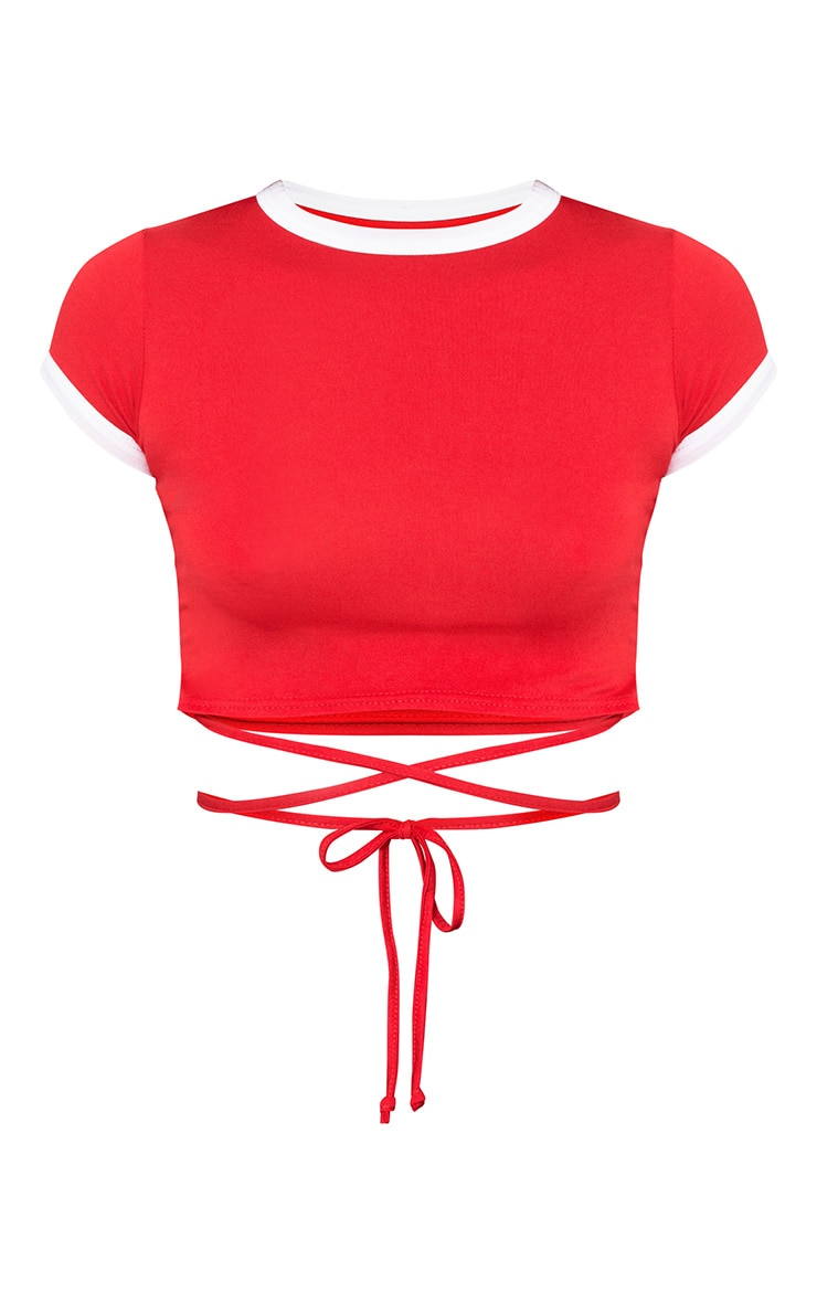 Red Jersey Harness Contrast Crop T Shirt 3