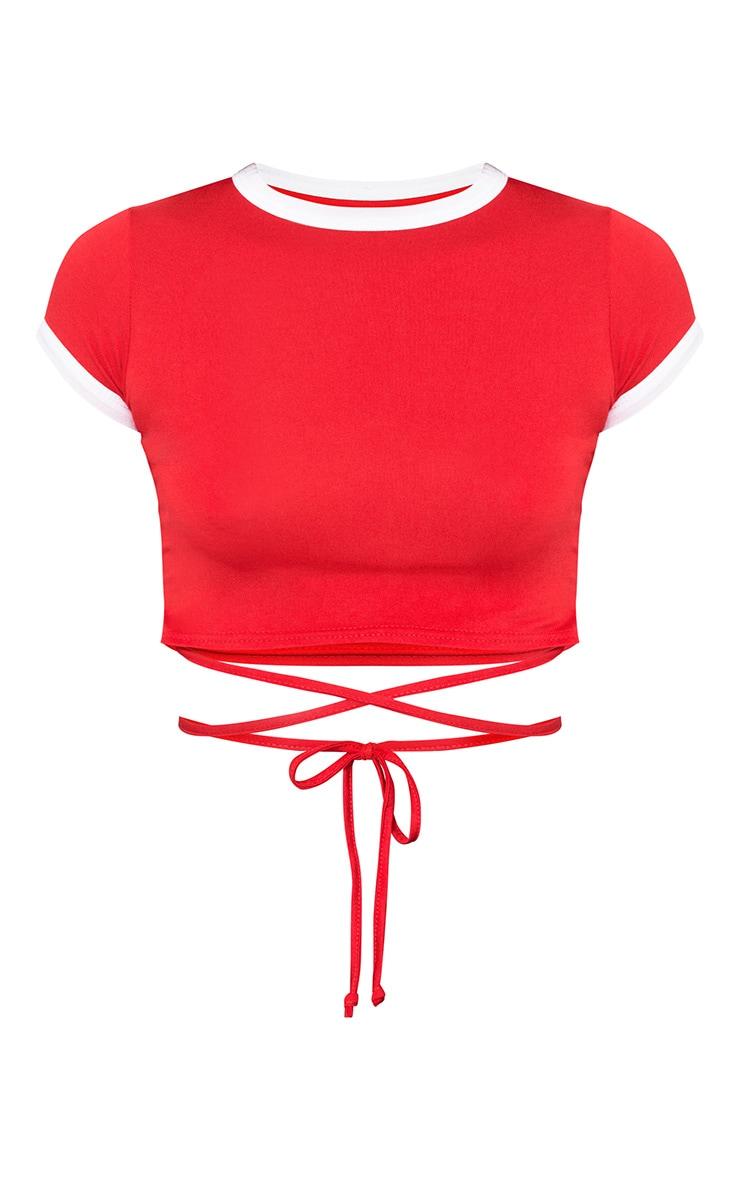 T-shirt court style harnais en jersey contrasté rouge 3