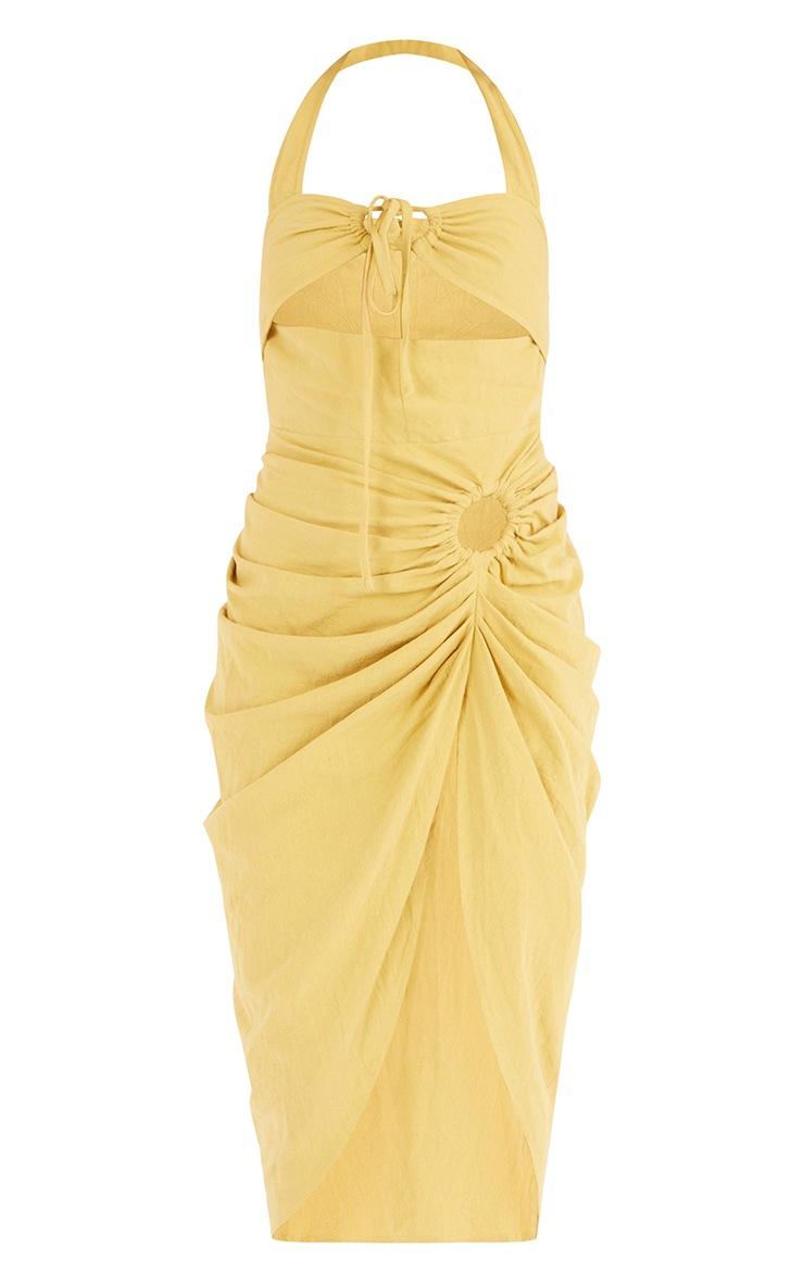 Tall  Lime Textured Halterneck Ring Detail Gathered Skirt Midi Dress 5