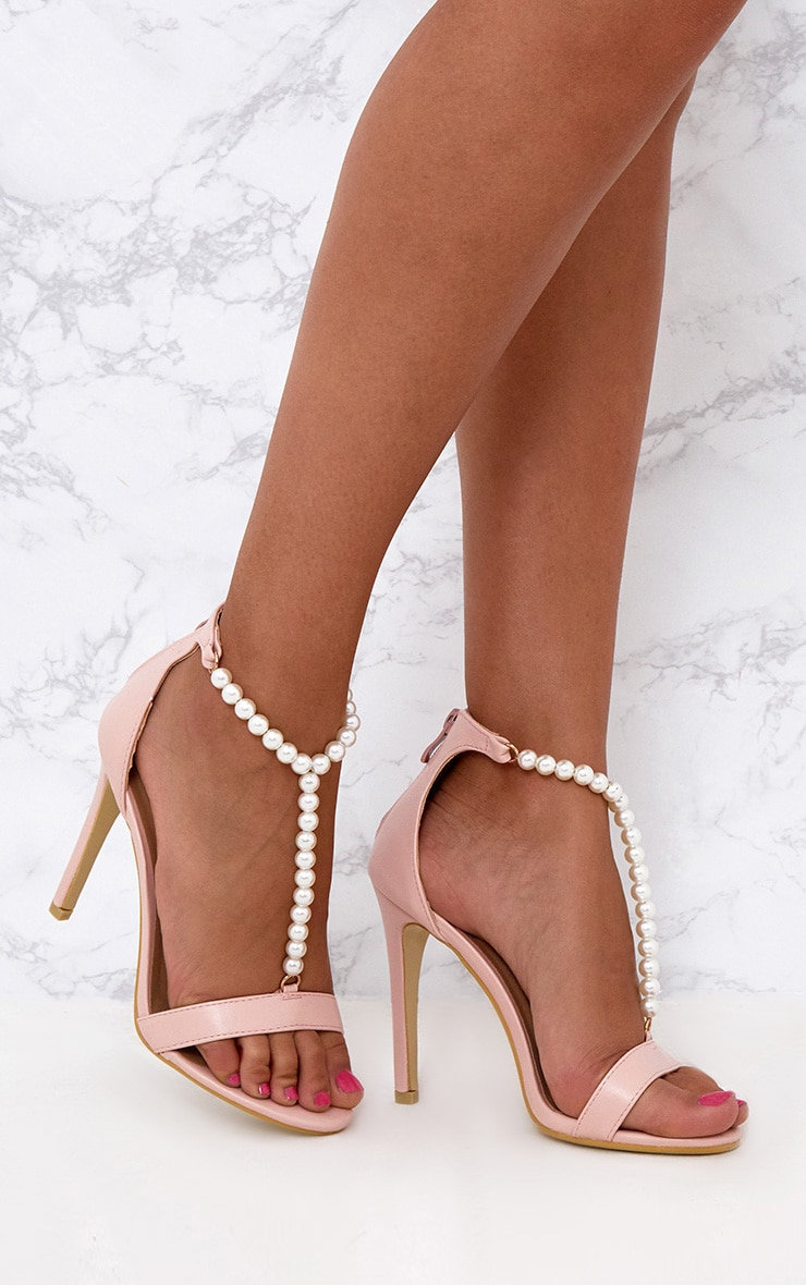 Blush Pearl T-Bar Strap Heels 1