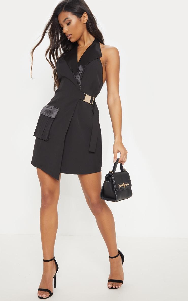 Black Satin Lapel Halterneck Blazer Dress 1
