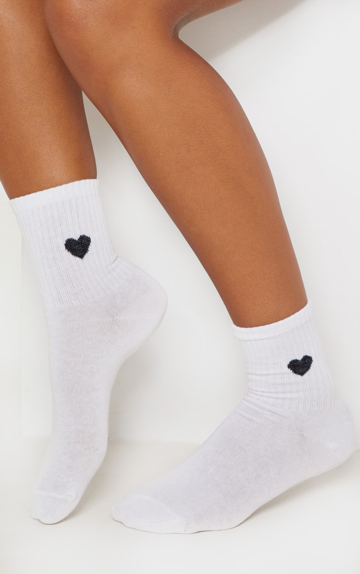 White Heart Knitted Socks 1