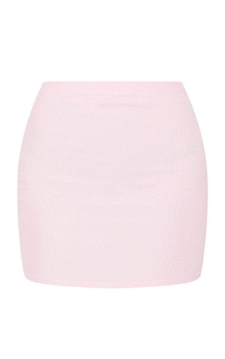 Candy Pink Crinkle Rib Mini Skirt 6