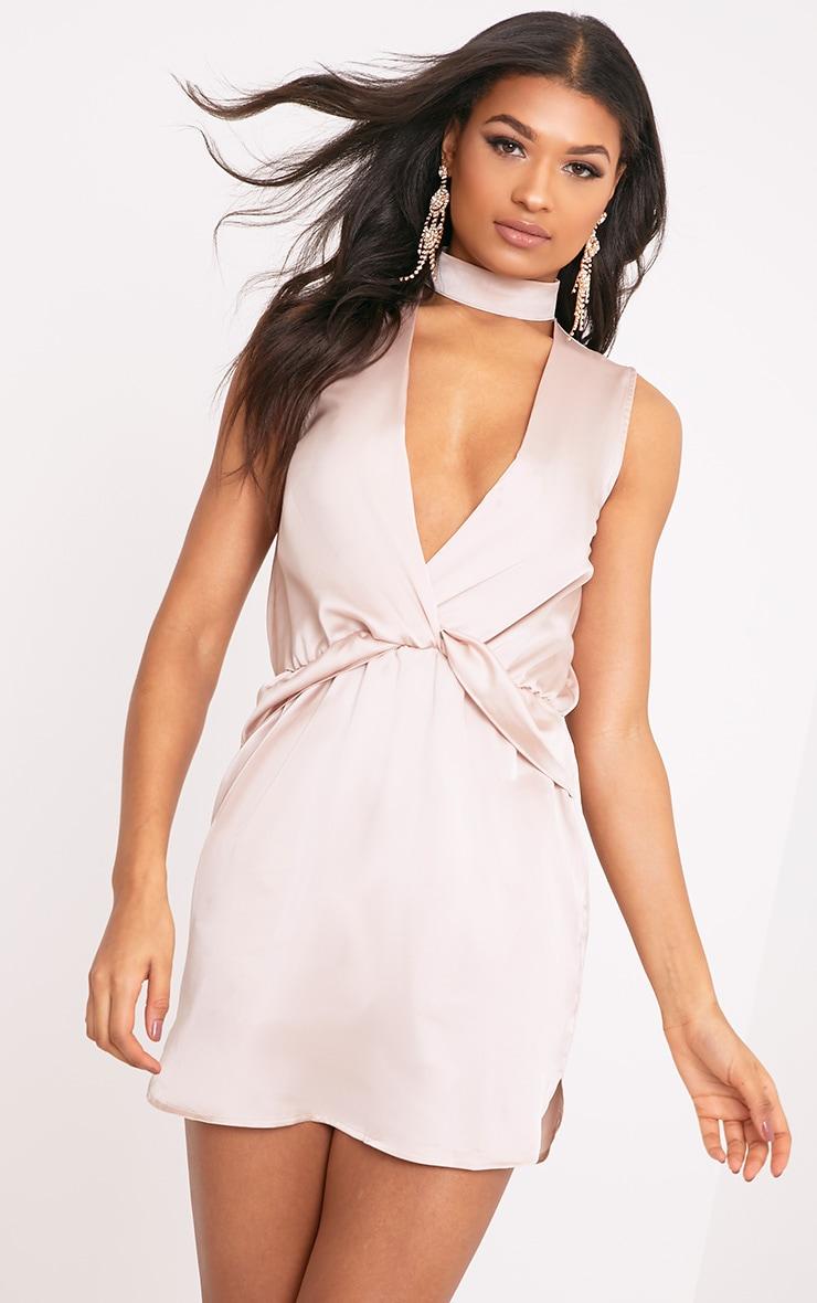 Kaitlyn Champagne Satin Choker Twist Front Shift Dress 1