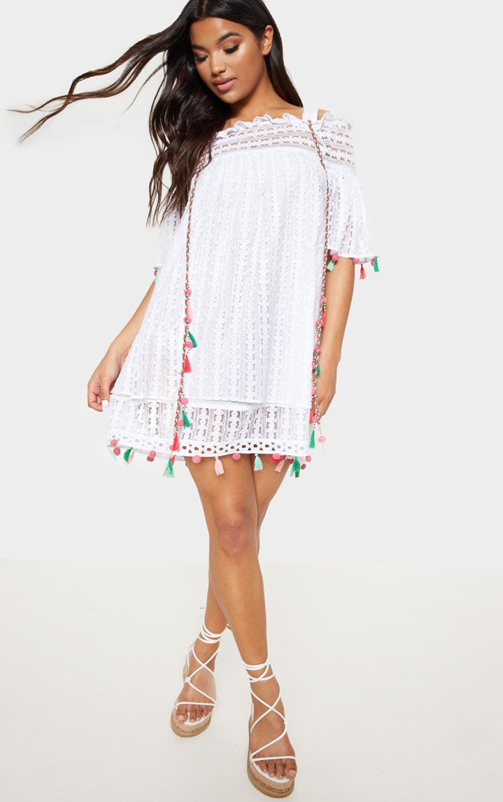 White Strappy Crochet Trim Pom Pom Smock Dress 1