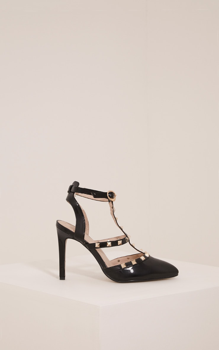 Eloisa Black Patent Pointed Studded Heels 3