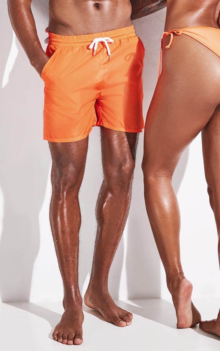 Orange Mid Length Swim Shorts 2