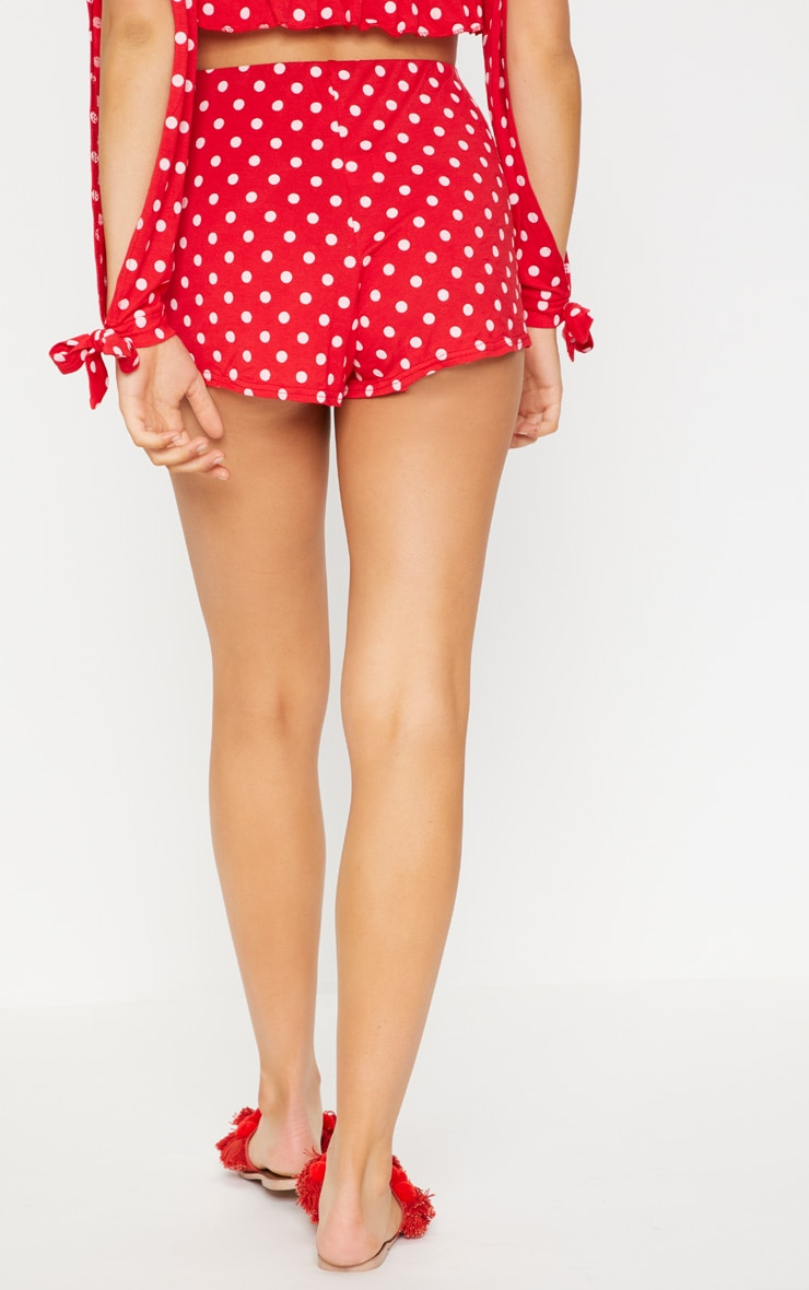 Red Polkadot Jersey Flared Sleeve Tie Crop Top 5