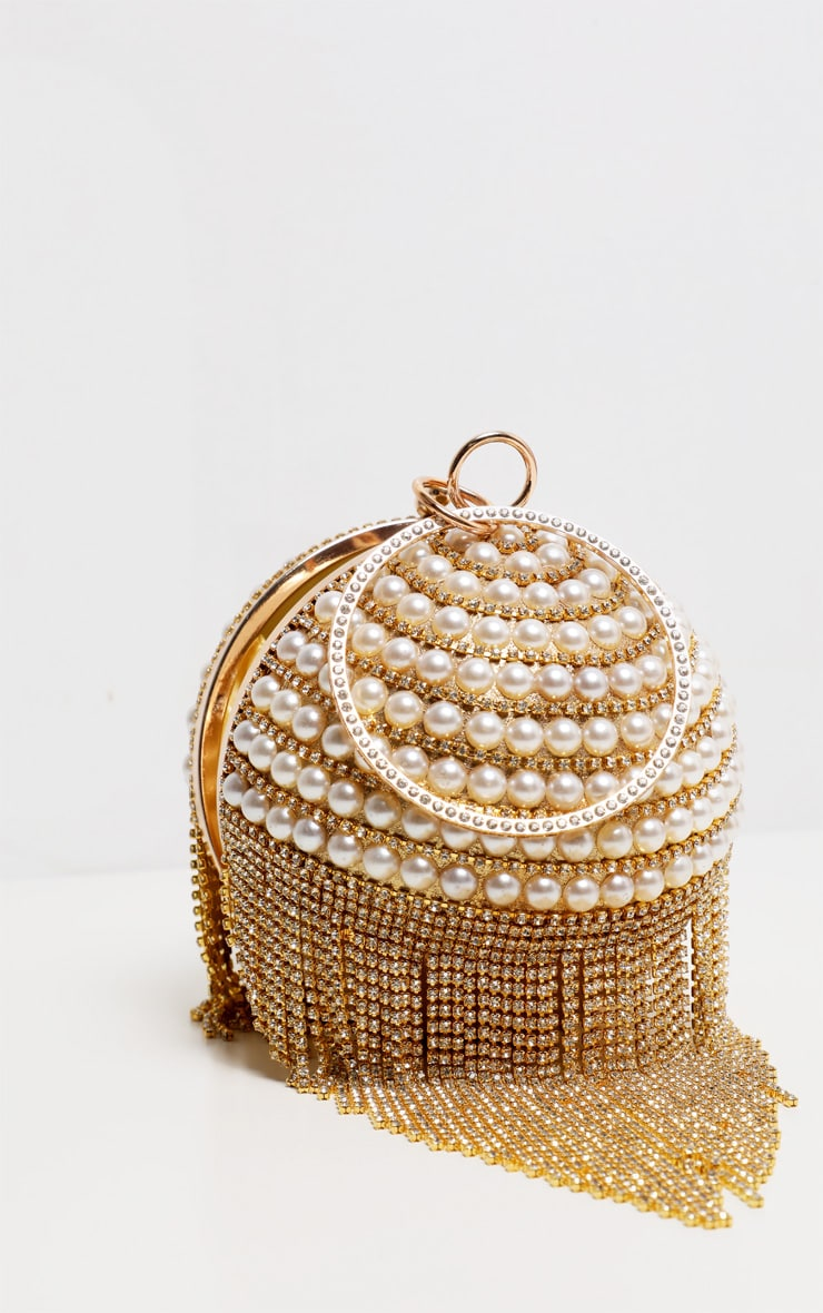 Gold Diamante And Pearl Large Sphere Bag 1