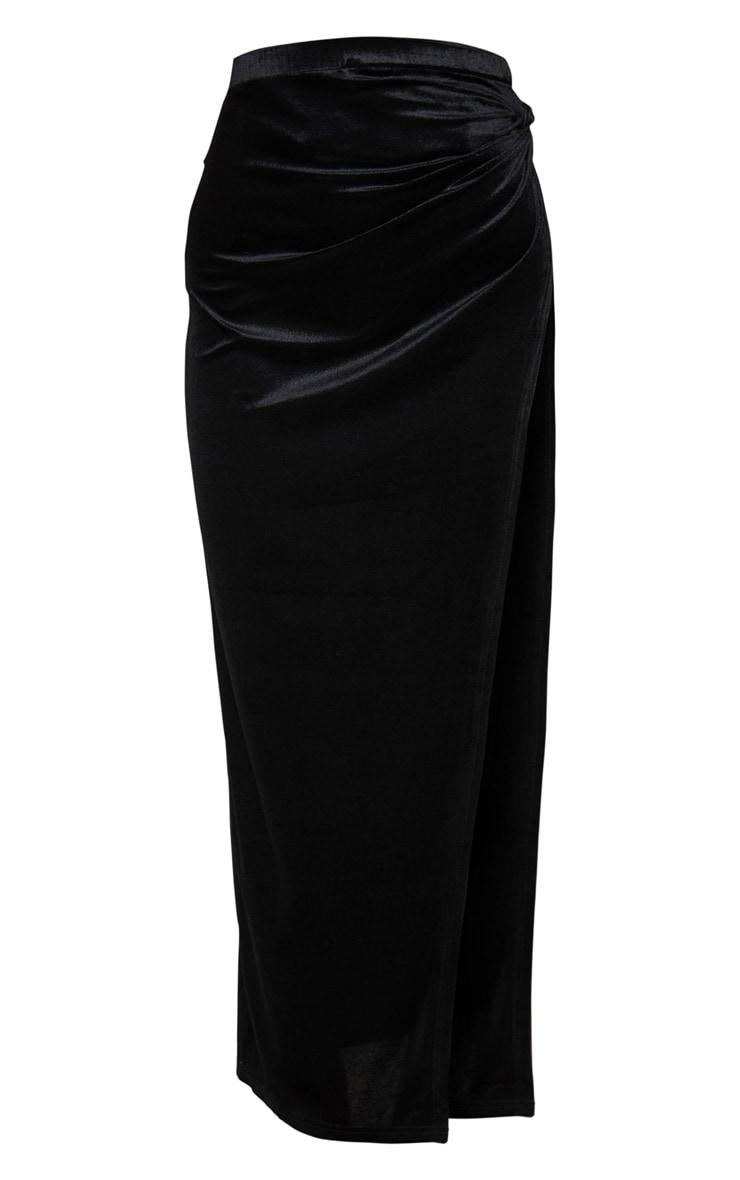 Black Velvet Tie Split Side Midi Skirt 6