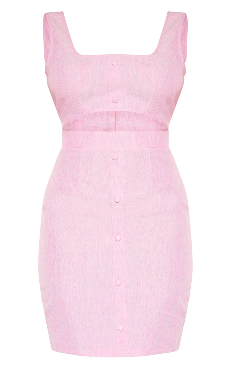 Tall Pink Button Detail Cut Out Dress 3