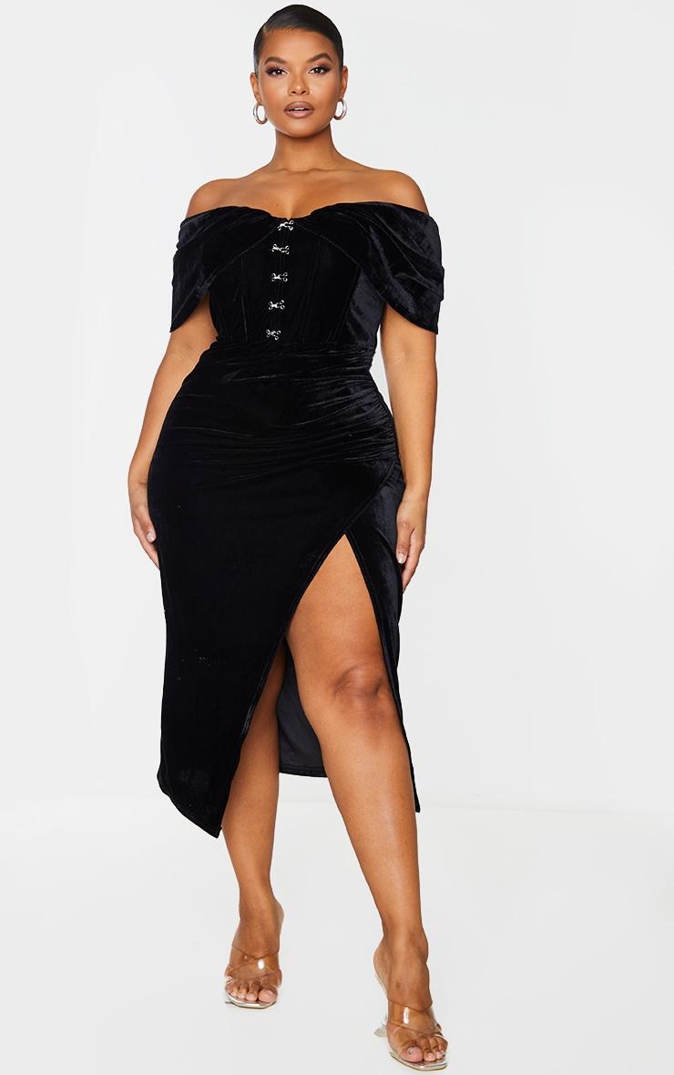 Plus Black Velvet Eyelet Detail Bardot Midi Dress 1