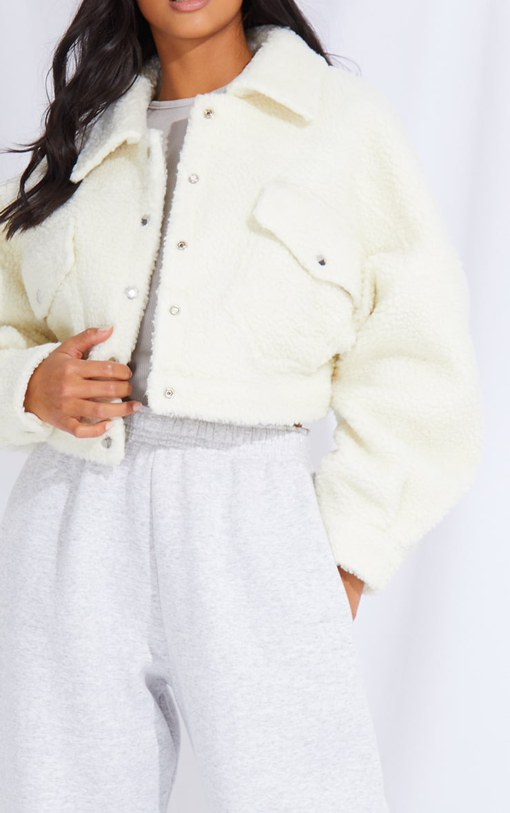 Petite Cream Borg Cropped Trucker Jacket 4