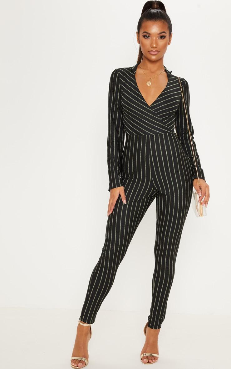 Black Stripe Collar Detail Plunge Slim Leg Jumpsuit 1