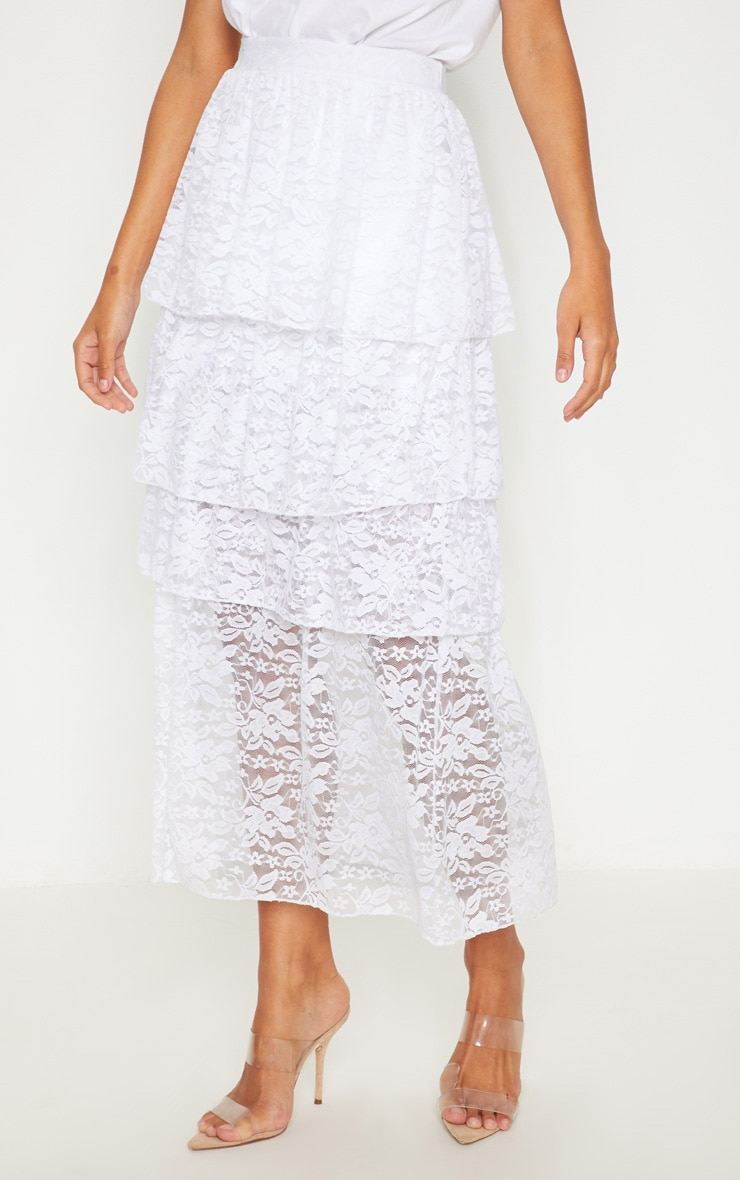 White Lace Tiered Maxi Skirt 2