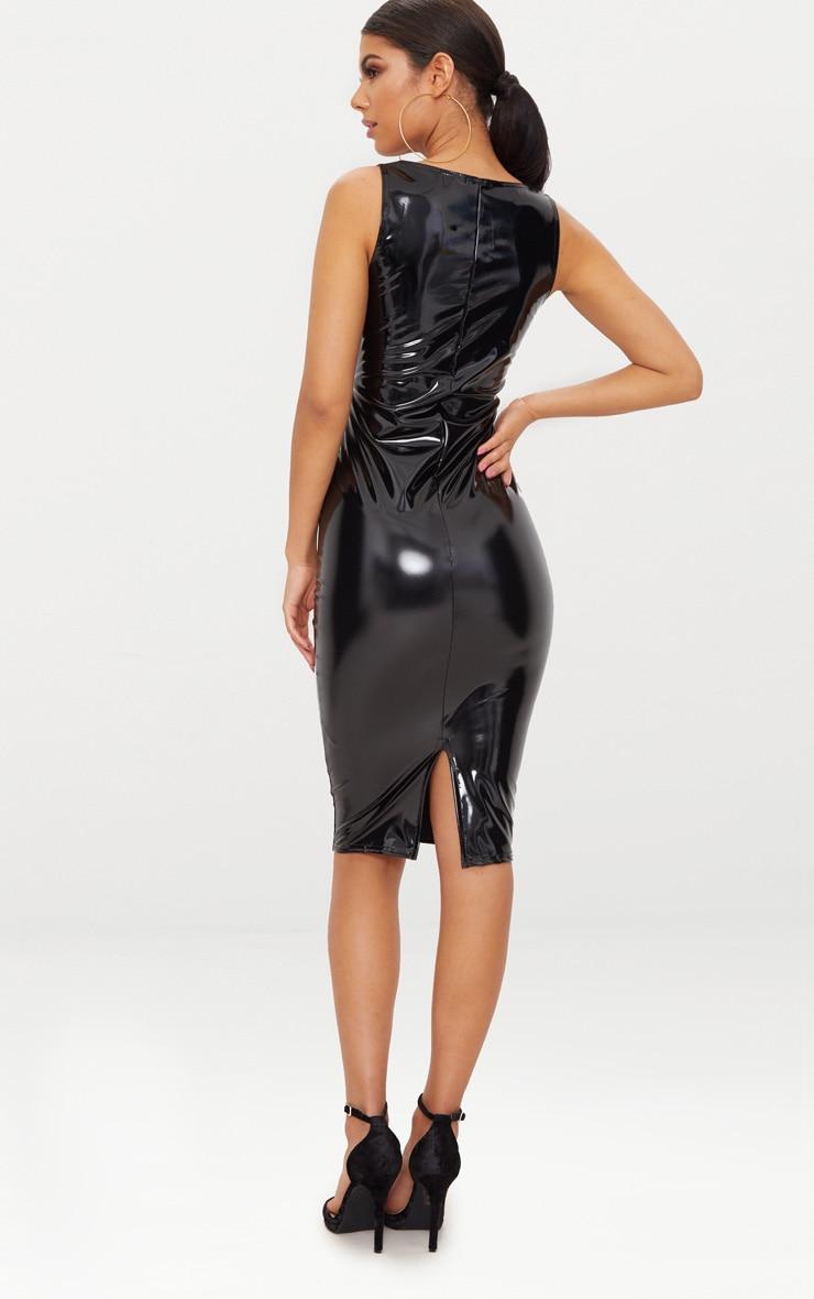 Black Vinyl  Square Neck Midi Dress 2