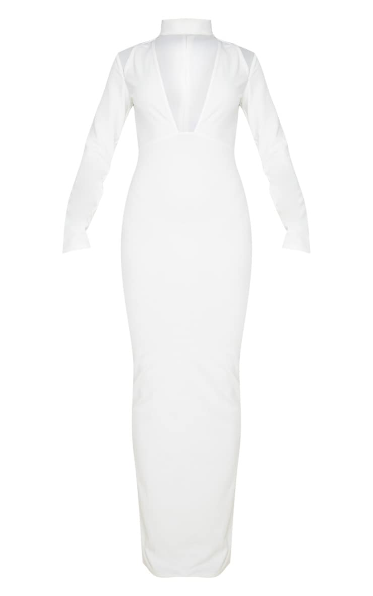 White High Neck Extreme Plunge Maxi Dress 3