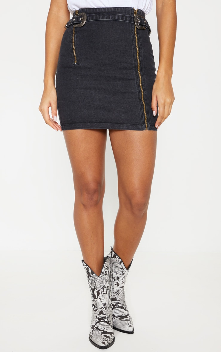 Black Denim Western Belted Mini Skirt 2
